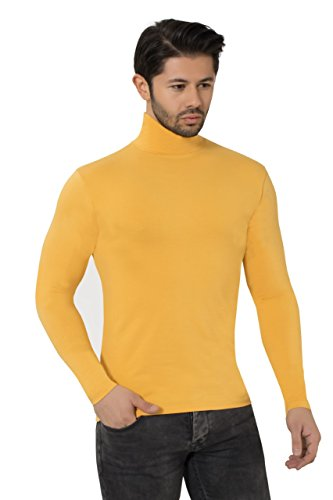 (ELEGANCE1234 Men's Roll Neck Turtleneck Soft Quality Cotton Long-Sleeve Tops (Large, Yellow))