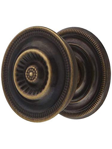 Large Federal Style Knob & Backplate in Antique-by-Hand - 1 5/8