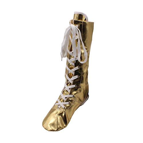 MSMAX Silver PU Jazz Dancing Gold Boots Shinning Gold Women's r0rCA4dwq