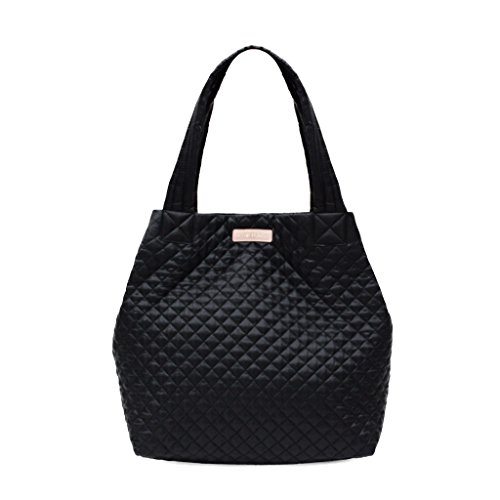 e Lightweight Quilted Nylon Laptop Tote Shopper (Black) (Quilted Leather Tote Bag)
