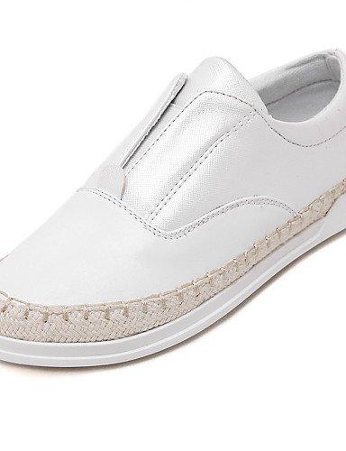 Mujer Plata Cn40 Blanco Gyht Eu36 Plano Uk4 White 5 us8 negro 5 mocasines Uk6 casual comfort us6 Cn36 Silver Zq Eu39 Zapatos De tacón cuero Ptx77H