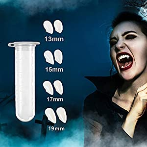 Best Epic Trends 41xObM3ZGeL._SS300_ CUPBEN 4 Pairs Vampire Teeth with Adhesive Glue, Halloween Decorations Vampire Fangs Sharp Teeth, Vampire False Teeth…