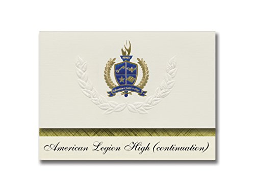 (Signature Announcements American Legion High (continuation) (Sacramento, CA) Graduation Announcements, Presidential Elite Pack 25 with Gold & Blue Metallic Foil seal)