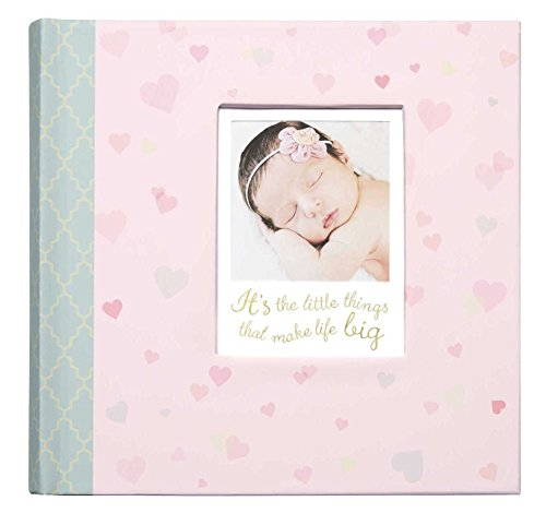 C.R. Gibson's Pink Infant Photo Album Photo Album For Newborns, 9.4 x 9.1 x 1.8 inches, 80 pages (Pretty Album Baby)