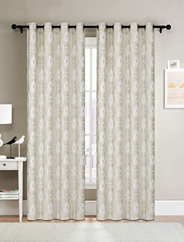 Curtainsville MAYA - Jacquard Window Treatments curtains 2 Panel Draperies Silver Grommet top Livingroom Bedroom Kitchen office 54W84L 7ft (Gold/White) (Beige Gold Curtains And)