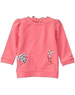Baby Girls' Kitten in the Pocket French Terry Top