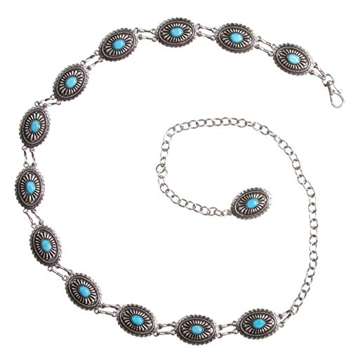Women's Western Oval Turquoise Stone Concho Skinny Chain Belt, Silver | One Size ()