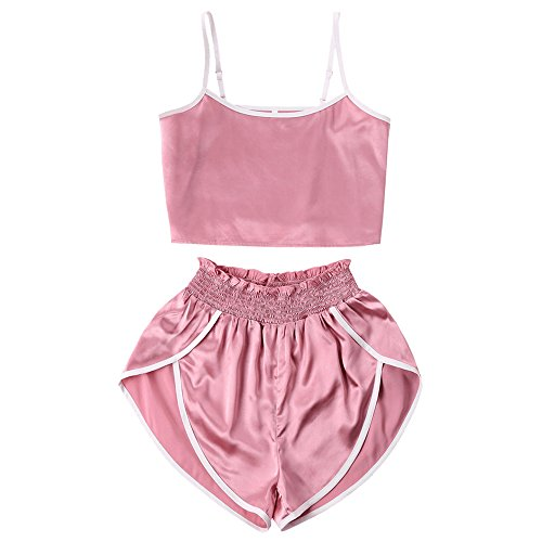 Contrast Trim Short (DEZZAL Women's Contrast Trim Satin Cropped Cami Top and High Cut Shorts Set (Pink, S))