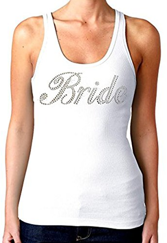 Bridal Party Rhinestones Tank Top White (Juniors) S-XL (M, White)