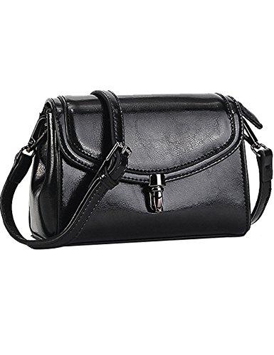 Menschwear Womens Genuine Leather Cross-body Bag Black by Menschwear