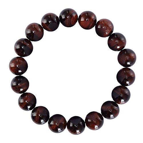BRCbeads Gemstone Bracelets Natural Red Tiger Eye Genuine Gemstones Birthstone Handmade Healing Power Crystal Beads Elastic Stretch 12mm 8.5 Inch with Gift Box Unisex