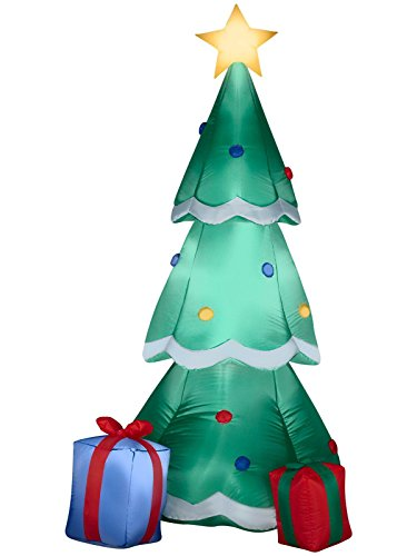 Gemmy Airblown Inflatable Christmas Tree Decorated With Ornaments and Presents Beside It - Indoor Outdoor Holiday Decoration, 6'6-Inch (Cheap Christmas Inflatables)