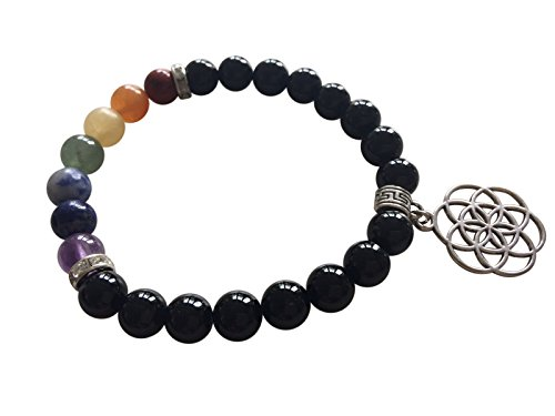 'Creative and Fulfilled' Black Obsidian Chakra Bracelet ~ Natural Gemstones Ethically Sourced ~ Healing Yoga Meditation Jewellery ~ Gift Boxed (Flower of Life - India Men Glasses In For