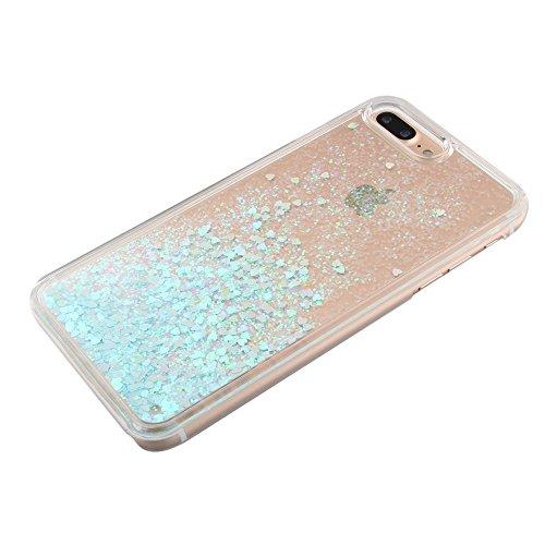 Dynamic Small Love Heart Sequins PC Mobile Tasche Hüllen Schutzhülle Case für iPhone 7 Plus 5.5 inch - Blau