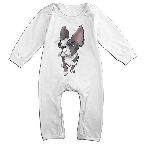 Raymond LULU THE BOSTON TERRIER Long Sleeve Bodysuit Baby Onesie White 12 Months