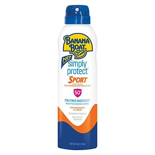 Simply Natural Banana - Banana Boat Simply Protect Sport Sunscreen Spray, SPF 50+, 25% Fewer Ingredients, 6 Ounces