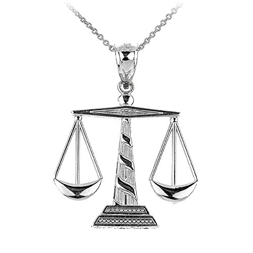 """925 Sterling Silver Scales of Justice Pendant Necklace, 22"""""""