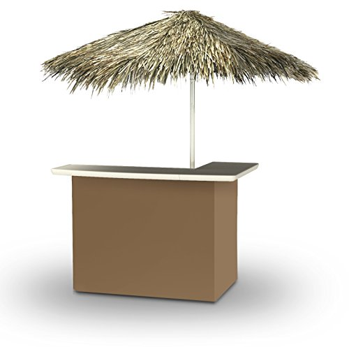 Best of Times 2001W1321P Solid Light Brown-PALAPA Portable Bar and 8 ft Tall Square Umbrella, One Size, Pantone 7504
