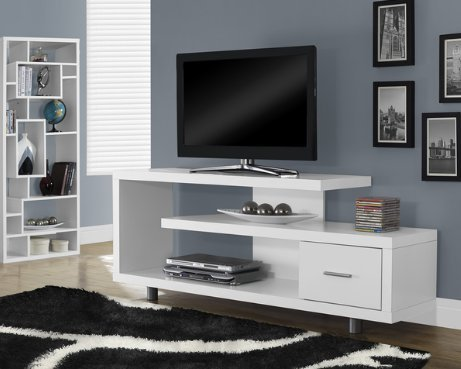 Modern Wood 60 Inch TV Stand Console with Open Shelves and 1