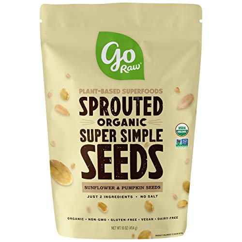 Go Raw Unsalted Sunflower and Pumpkin Seeds, Sprouted, 1 lb. Bag | Keto | Vegan | Gluten Free | Organic | Superfood