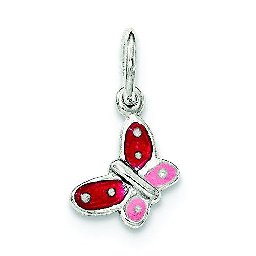 .925 Sterling Silver Enamel Butterfly Charm - Butterfly Sterling Pendant Silver Enamel