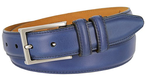 Lejon Glove Tanned Steerhide Smooth Leather Dress Belt (Blue, 38) (Smooth Leather Dress Belt)