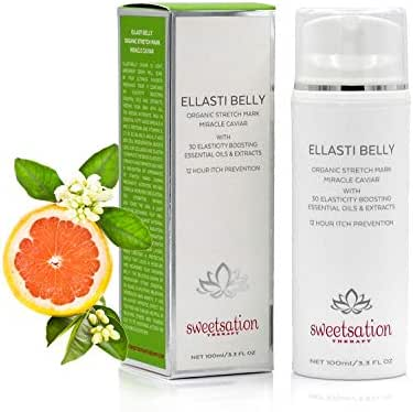 Organic EllastiBelly Stretch Mark Miracle Caviar 3.3oz. Stretch Marks Prevention in Pregnancy With Omega 3,6,9, Vitamins, Micro-Elements, Amino Acids, Extracts to Boost Elasticity. 12 hour Itch Relief