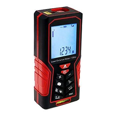 Digital Measuring Tape Distance Meter, Handheld Range Finder Device Area & Volume Tools with Backlight &Bubble