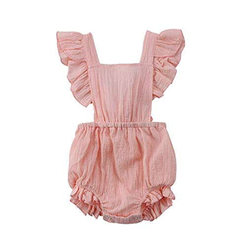 NIHINTE Infant Baby Girl Bodysuit Sleeveless Ruffles Romper Butterfly Sleeve Romper Sunsuit Outfit Princess Clothes (90, Pink) ()