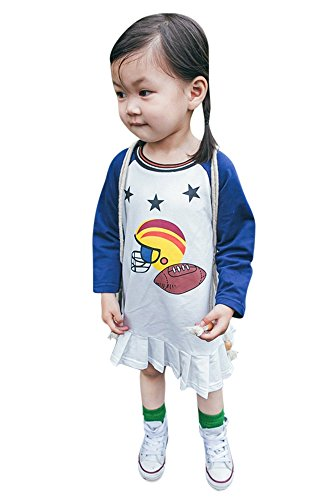 Football Dress - FANCYKIDS Girls Toddler Football Sports Tennis Top Dress Outfit (18 to 24 Months, Long Sleeves Dark Blue)