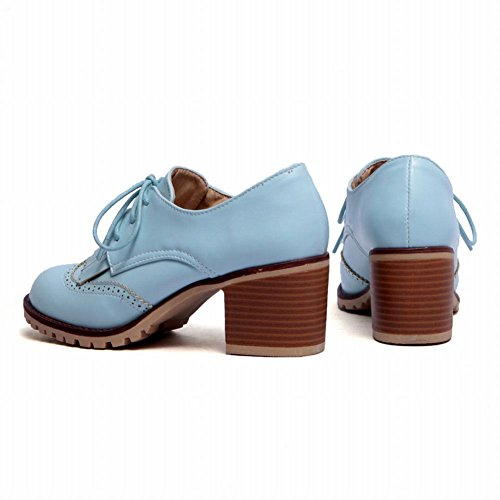 Shoes Oxfords Heel Mid Blue Chunky Women's Lace Tassels up Carol Chic Comfort xfpqAg6gw