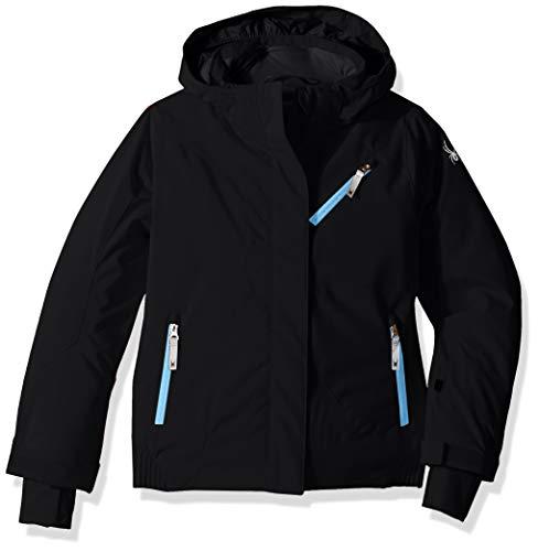 (Spyder Girls' Lola Ski Jacket, Black/Black/Blue Ice, Size 16)
