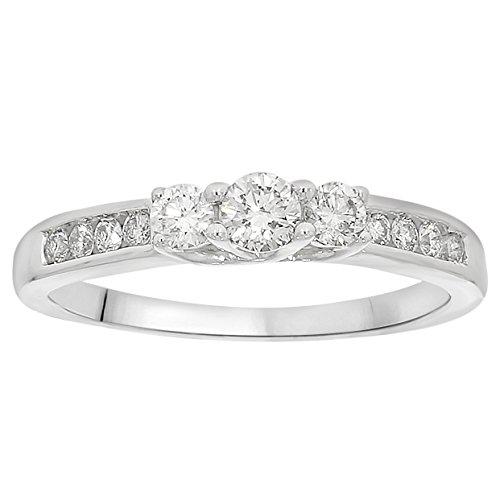 1/2 cttw White Diamond Three-Stone Ladies Engagement Ring in 10k White Gold by eSparkle
