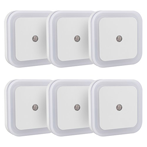 Airsspu Plug-in LED Night Light,Smart Sensor Automatic Dusk to Dawn Light Warm White Glow Soft Brightness Perfect for Bedroom, Nursery and Baby's Room (6 Packs)