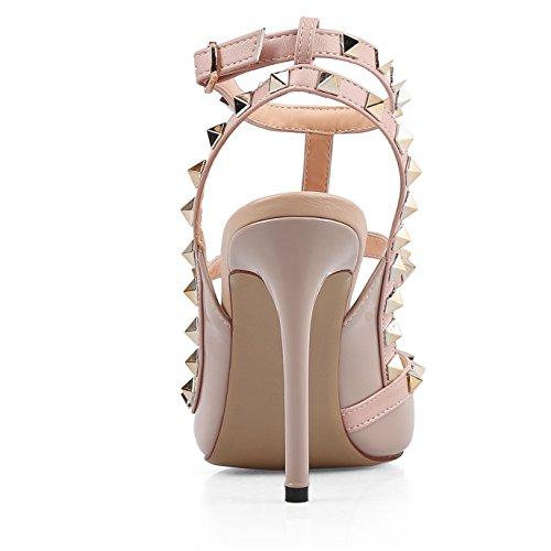 Prigioniera Cuoio Strappy Nude Tacchi Vite 14 Oro Stiletti Sandali t Indicata Chiodati Punta 4 Chris Slingback Pompe Donne pq6xvHYwna
