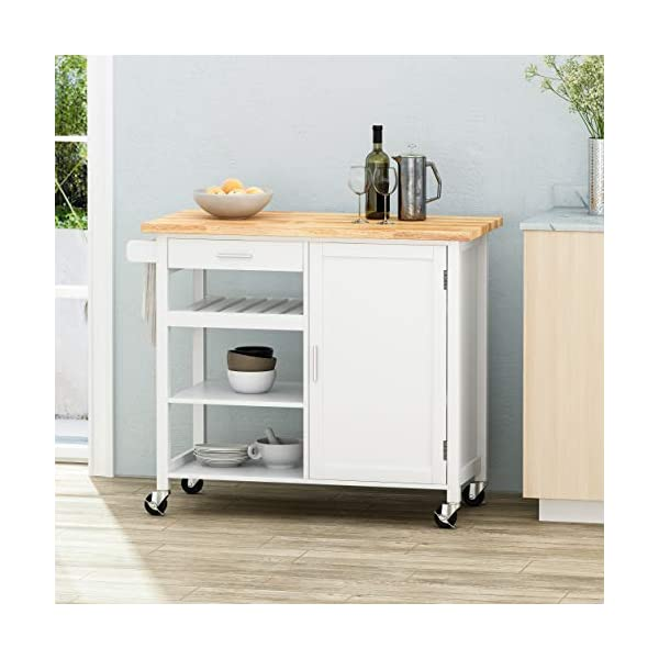 Christopher Knight Home Frances Contemporary Kitchen Cart with Wheels, Natural + White