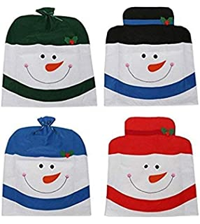 1f762467d3a96 4 X SNOWMAN HAT CHAIR BACK COVERS CHRISTMAS XMAS PARTY TABLE DECORATION  GIFT SET