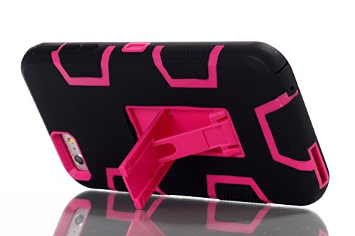 iPhone 6 6S Plus Hülle , Heavy Duty Kickstand Rose PU Harte Rüstung Tasche Schutzhülle Shockproof Handyhülle Stoßdämpfende Schale Fall Case Shell Halter für Apple iPhone 6 6S Plus
