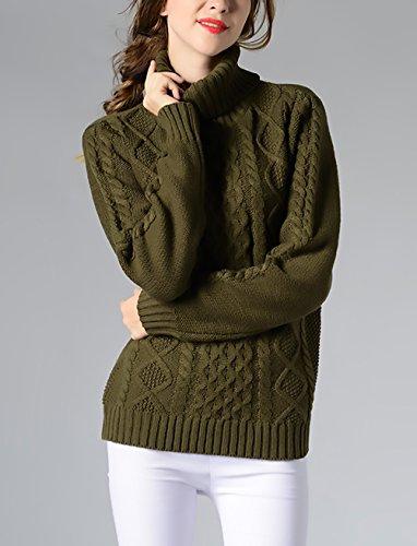 Verde Pullover Collo Maglietta Vintage Particolari Inverno Strisce Dolcevita Maglia Manica Jumper Lunga Maglione Maglie Maglieria Top Elegante Casual Alto Partito Ragazze Donna Warm A Moda Calda 4wp0zA