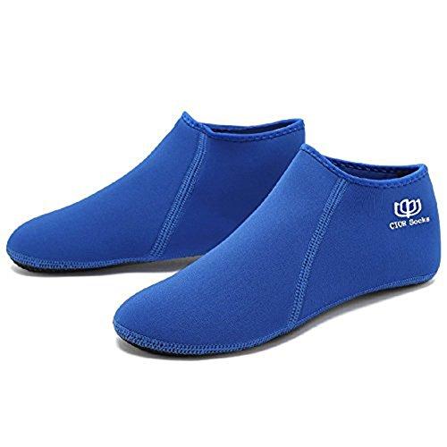 CIOR 3. Verbesserte Version Durable Sohle Barfuß Wasser Haut Schuhe Aqua Socken für Beach Pool Sand Schwimmen Surf Yoga Wassergymnastik Q.blau