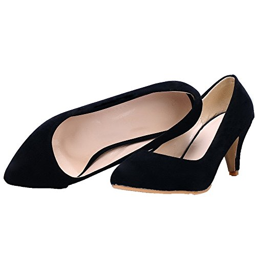 Pumps Shoes Closed On Solid Black Kitten WeiPoot 33 Heels Pull Frosted Toe Women's EwWqvBz