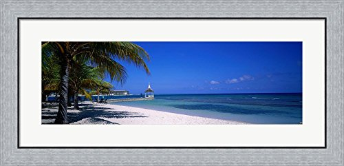 Beach At Half Moon Hotel, Montego Bay, Jamaica by Panoramic Images Framed Art Print Wall Picture, Flat Silver Frame, 35 x 17 inches