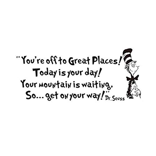 Removable Quotes and Saying Dr. Seuss You're Off to Great Places Transfers Murals Love Baby Kids Bedroom Art Wall Decals -