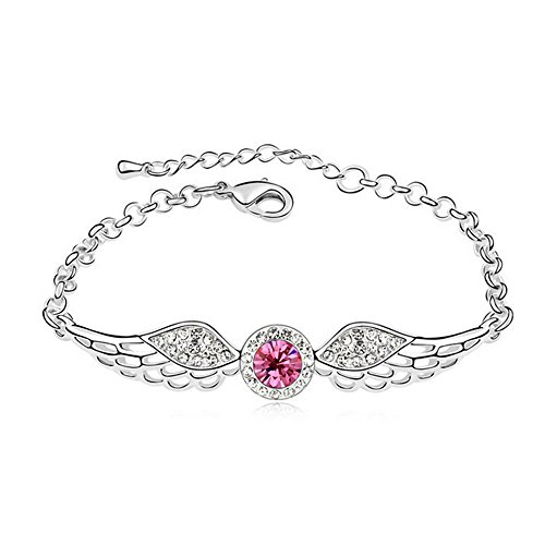 The Starry Night Lovely Pink Diamond Accented Angles Wing Silver Bracelet For Fashion Womens Girls