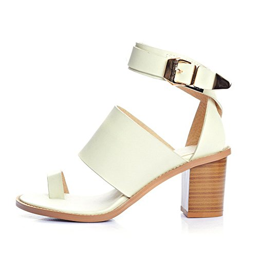 AmoonyFashion Womens Soft Material Buckle Open Toe High-Heels Solid Sandals with Metal Beige fpsiM