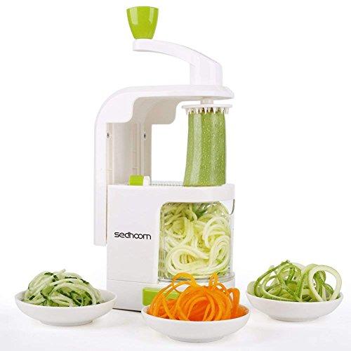 Spiralizer 4-Blade Vegetable Spiralizer, Sedhoom Heavy Duty Spiral Slicer, Zucchini Noodle & Veggie Pasta & Spaghetti Maker for Low Carb/Paleo/Gluten-Free Meals by Sedhoom