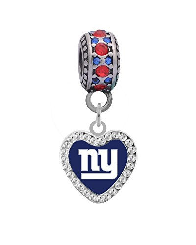 Ny Charm Enamel Giants (New York Giants Rhinestone Heart Charm Fits European Style Large Hole Bead Bracelets)