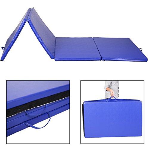 GHP Blue 4'x10'x2″ EPE Foam Folding Gymnastics Exercise Yoga Mat with Zippered Panels