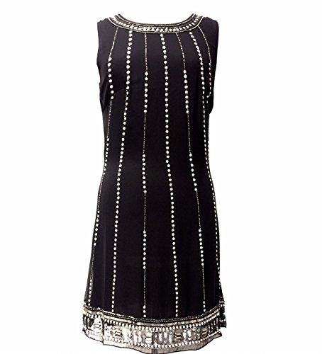 Ladies 1920Del Vintage estilo Charleston Flapper Gatsby Abbey flecos Beaded Sequin Shift vestido negro