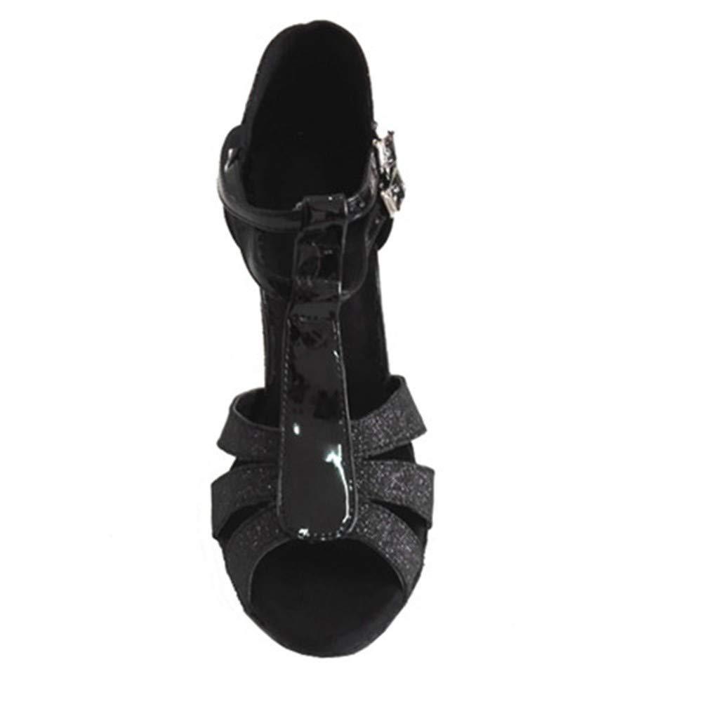 HCCY Latin Tanzschuhe Chalcamba Chalcamba Chalcamba Damen Indoor Leder weiche untere Tanzschuhe Schwarz b8a6c6